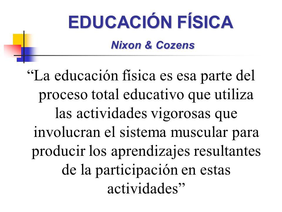 EDUCACIÓN FÍSICA Nixon & Cozens La educación física es esa parte del proceso total educativo que utiliza las actividades vigorosas que involucran el s