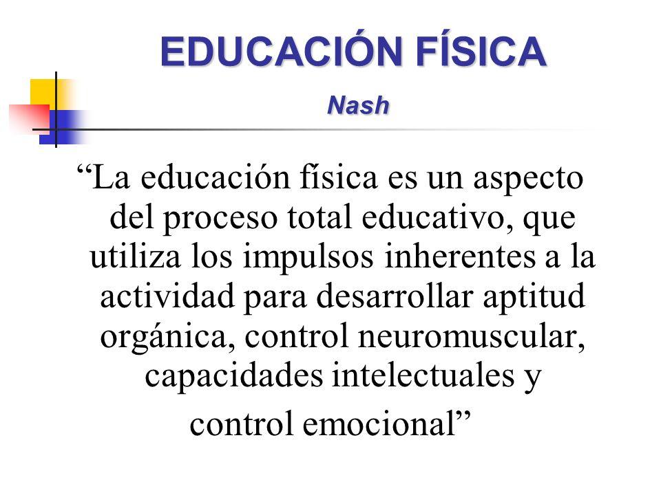 EDUCACIÓN FÍSICA Nash La educación física es un aspecto del proceso total educativo, que utiliza los impulsos inherentes a la actividad para desarroll