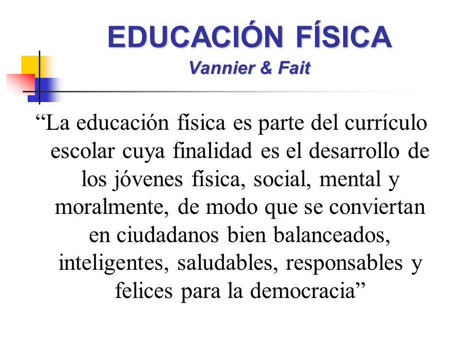 EDUCACIÓN FÍSICA Vannier & Fait La educación física es parte del currículo escolar cuya finalidad es el desarrollo de los jóvenes física, social, mental y moralmente, de modo que se conviertan en ciudadanos bien balanceados, inteligentes, saludables, responsables y felices para la democracia