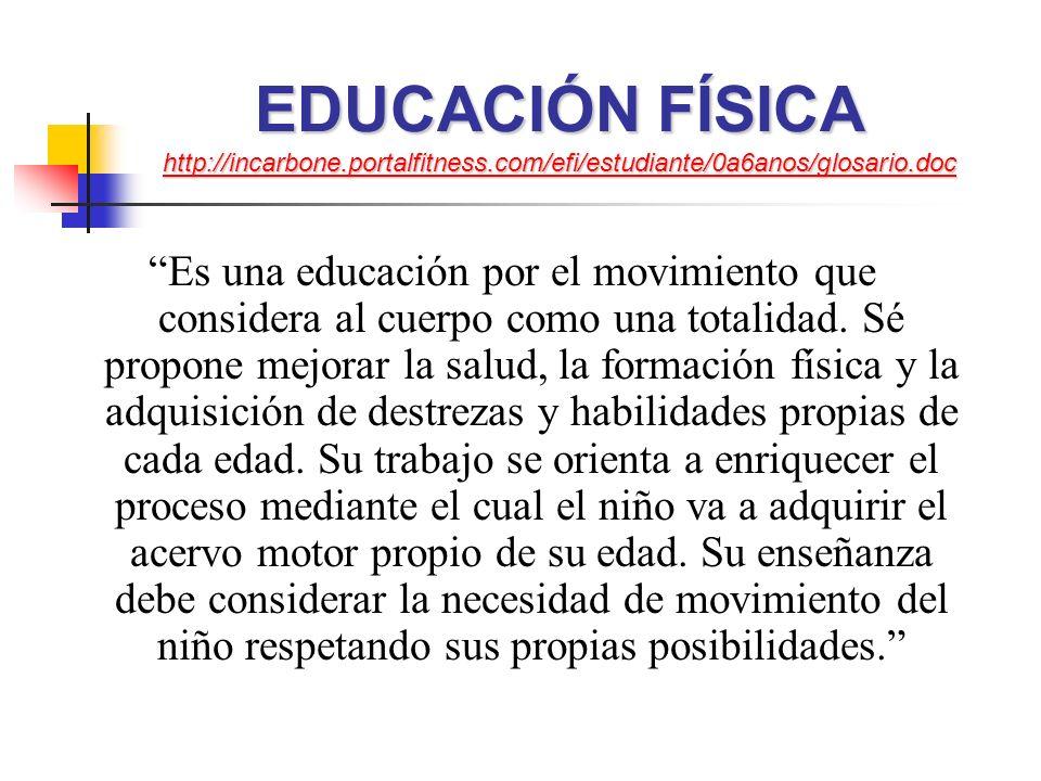 EDUCACIÓN FÍSICA http://incarbone.portalfitness.com/efi/estudiante/0a6anos/glosario.doc http://incarbone.portalfitness.com/efi/estudiante/0a6anos/glosario.doc Es una educación por el movimiento que considera al cuerpo como una totalidad.