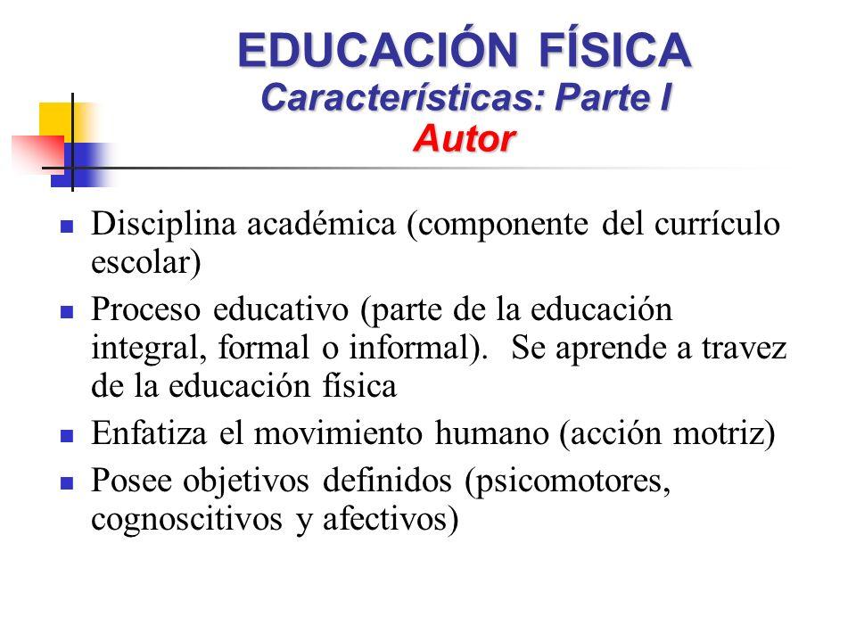 EDUCACIÓN FÍSICA Características: Parte I Autor Disciplina académica (componente del currículo escolar) Proceso educativo (parte de la educación integral, formal o informal).