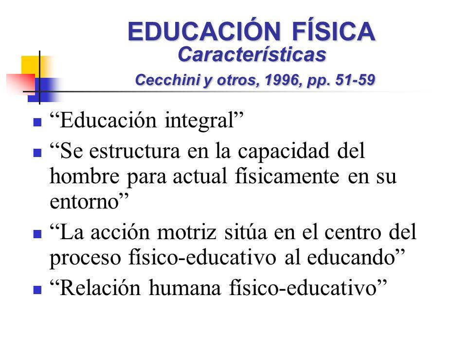EDUCACIÓN FÍSICA Características Cecchini y otros, 1996, pp. 51-59 Educación integral Se estructura en la capacidad del hombre para actual físicamente