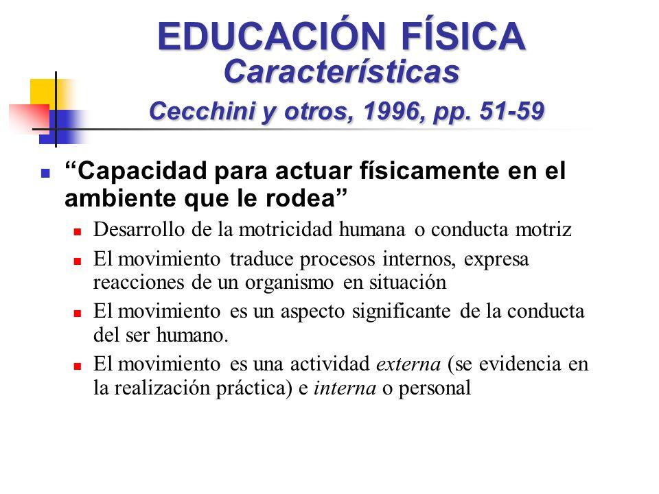 EDUCACIÓN FÍSICA Características Cecchini y otros, 1996, pp. 51-59 Capacidad para actuar físicamente en el ambiente que le rodea Desarrollo de la motr