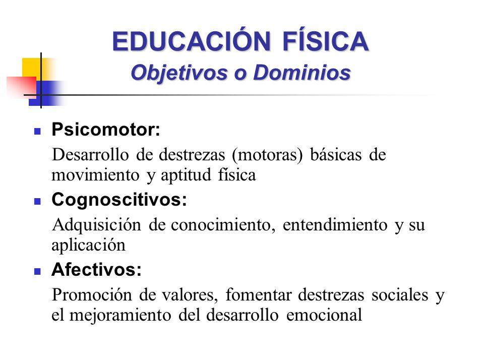EDUCACIÓN FÍSICA Objetivos o Dominios Psicomotor: Desarrollo de destrezas (motoras) básicas de movimiento y aptitud física Cognoscitivos: Adquisición