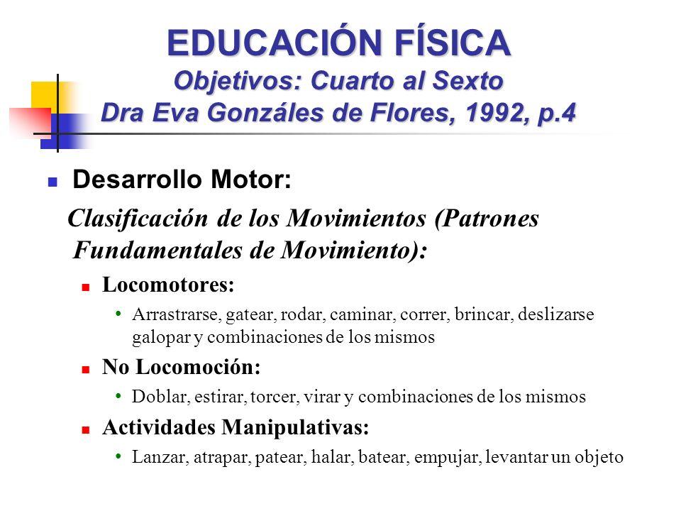 EDUCACIÓN FÍSICA Objetivos: Cuarto al Sexto Dra Eva Gonzáles de Flores, 1992, p.4 Desarrollo Motor: Clasificación de los Movimientos (Patrones Fundame