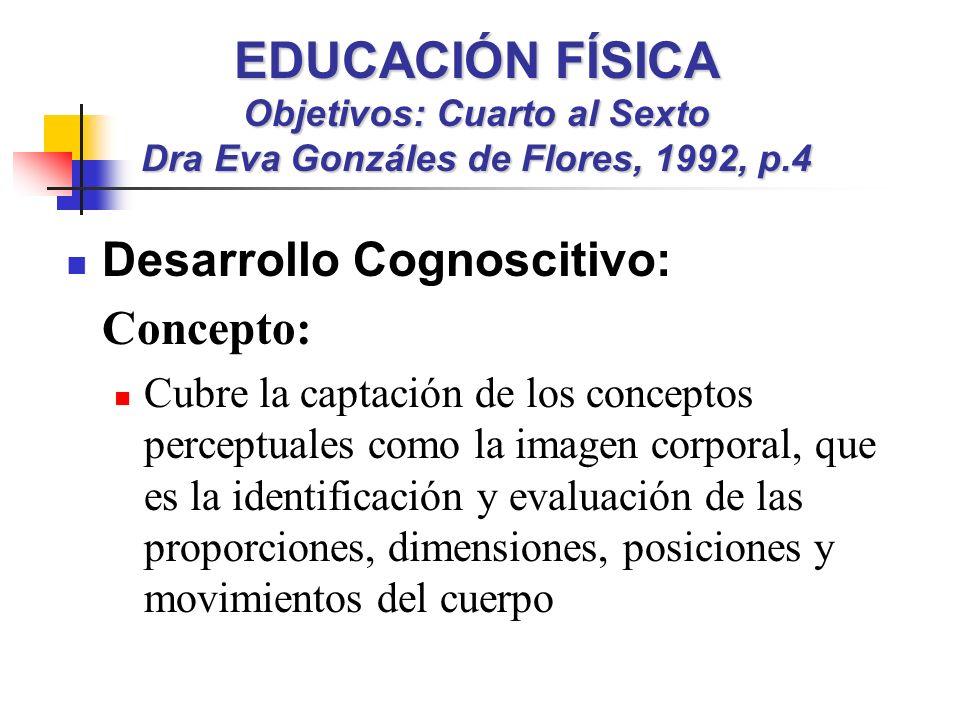 EDUCACIÓN FÍSICA Objetivos: Cuarto al Sexto Dra Eva Gonzáles de Flores, 1992, p.4 Desarrollo Cognoscitivo: Concepto: Cubre la captación de los conceptos perceptuales como la imagen corporal, que es la identificación y evaluación de las proporciones, dimensiones, posiciones y movimientos del cuerpo