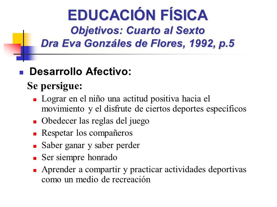 EDUCACIÓN FÍSICA Objetivos: Cuarto al Sexto Dra Eva Gonzáles de Flores, 1992, p.5 Desarrollo Afectivo: Se persigue: Lograr en el niño una actitud posi
