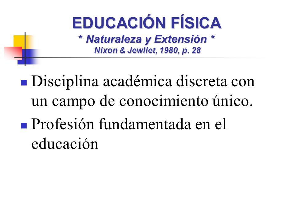 EDUCACIÓN FÍSICA * Naturaleza y Extensión * Nixon & Jewllet, 1980, p. 28 Disciplina académica discreta con un campo de conocimiento único. Profesión f
