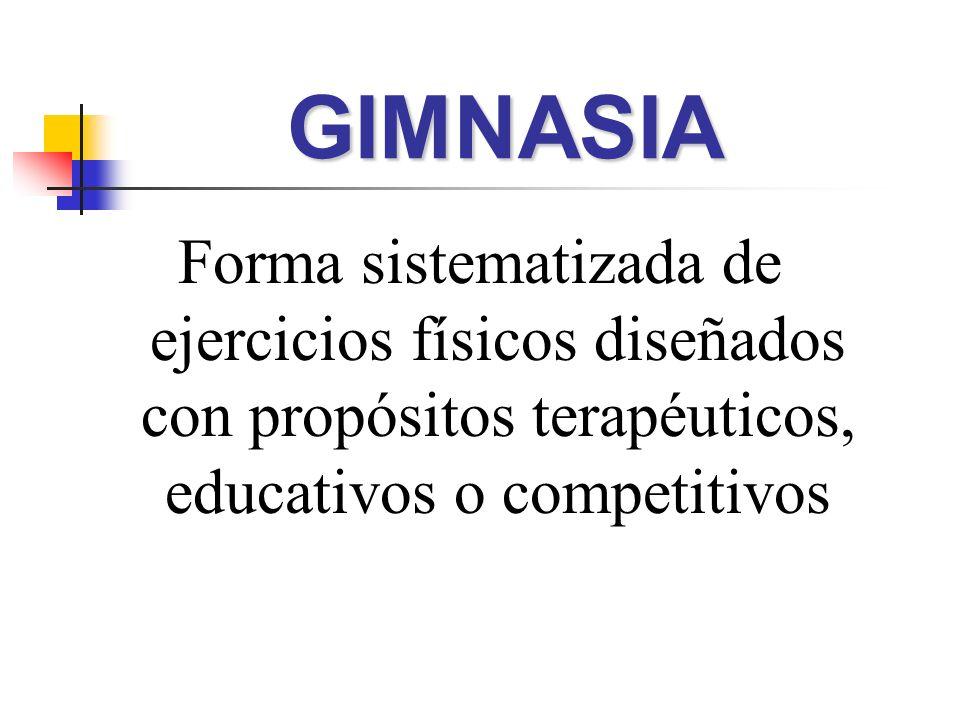 Forma sistematizada de ejercicios físicos diseñados con propósitos terapéuticos, educativos o competitivos GIMNASIAGIMNASIA