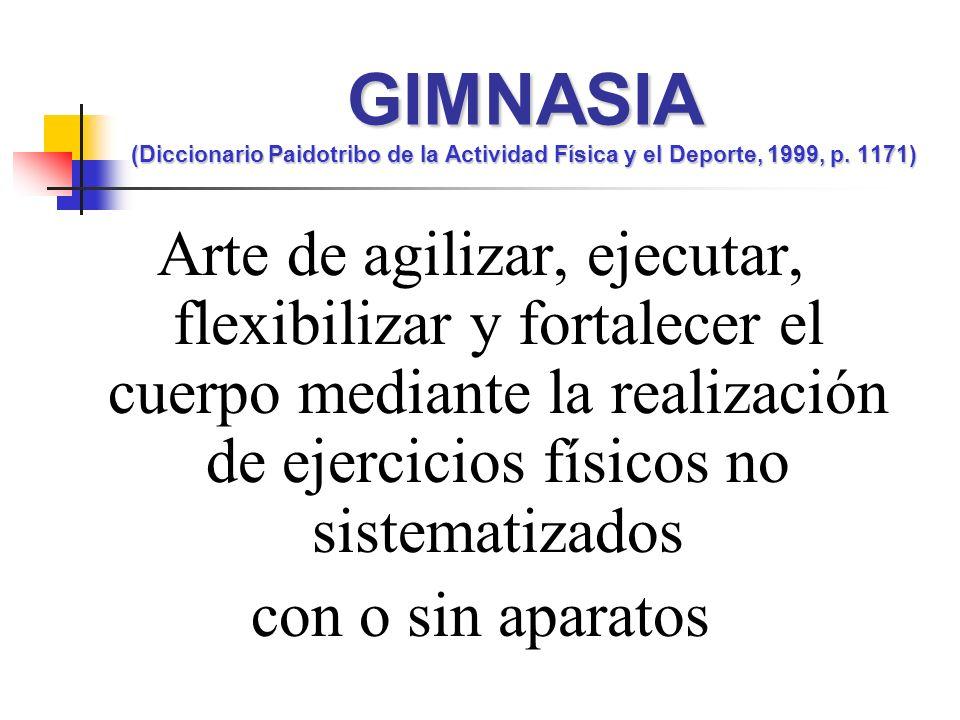 Arte de agilizar, ejecutar, flexibilizar y fortalecer el cuerpo mediante la realización de ejercicios físicos no sistematizados con o sin aparatos GIM