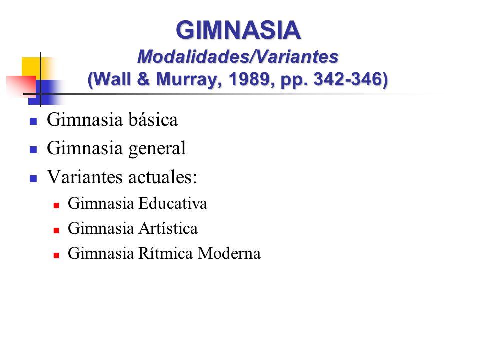 Gimnasia básica Gimnasia general Variantes actuales: Gimnasia Educativa Gimnasia Artística Gimnasia Rítmica Moderna GIMNASIA Modalidades/Variantes (Wall & Murray, 1989, pp.