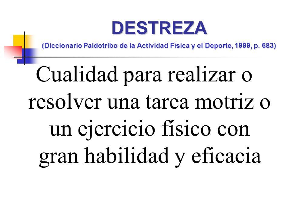 Cualidad para realizar o resolver una tarea motriz o un ejercicio físico con gran habilidad y eficacia DESTREZA (Diccionario Paidotribo de la Actividad Física y el Deporte, 1999, p.