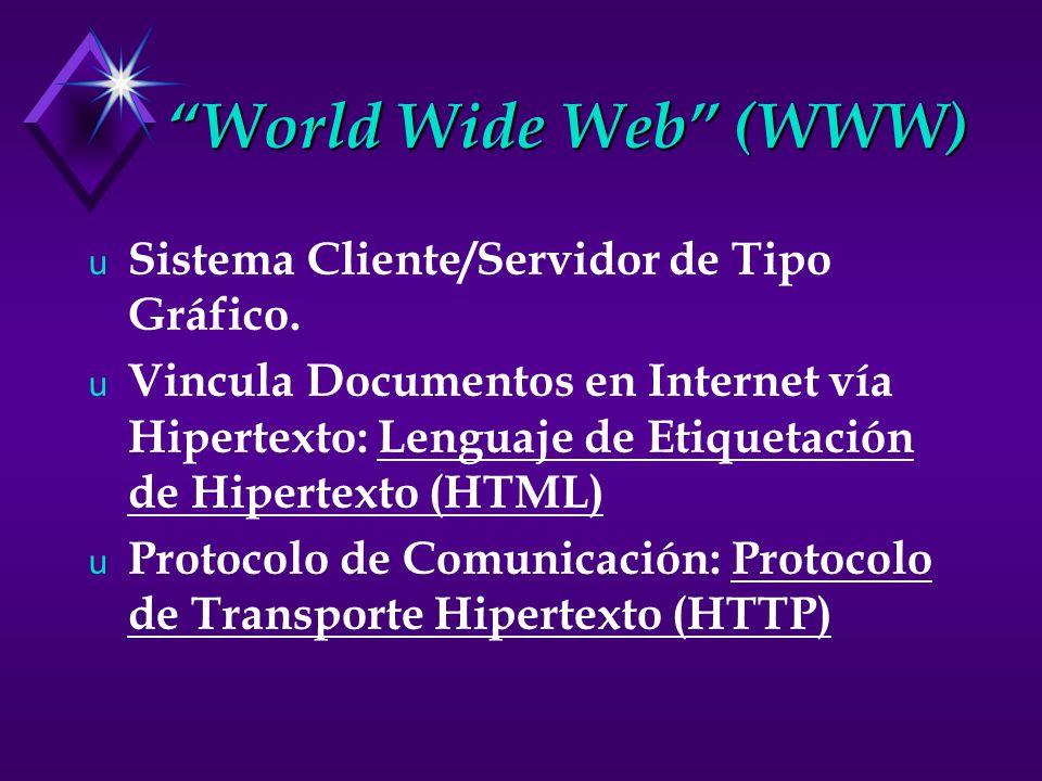 World Wide Web (WWW) u Sistema Cliente/Servidor de Tipo Gráfico. u Vincula Documentos en Internet vía Hipertexto: Lenguaje de Etiquetación de Hipertex