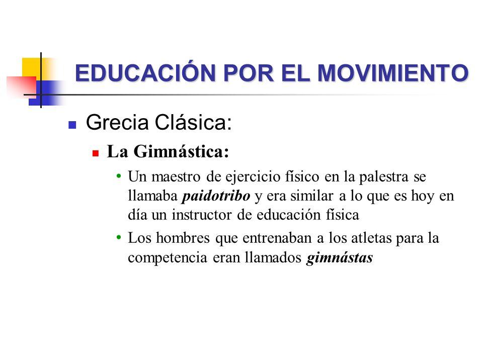 Grecia Clásica: La Gimnástica: Un maestro de ejercicio físico en la palestra se llamaba paidotribo y era similar a lo que es hoy en día un instructor