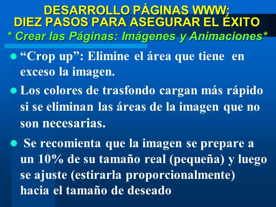 DESARROLLO PÁGINAS WWW: DIEZ PASOS PARA ASEGURAR EL ÉXITO * Crear las Páginas: Imágenes y Animaciones* Crop up: Elimine el área que tiene en exceso la imagen.