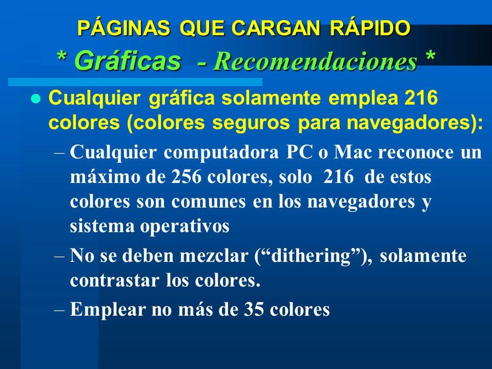 Cualquier gráfica solamente emplea 216 colores (colores seguros para navegadores): –Cualquier computadora PC o Mac reconoce un máximo de 256 colores, solo 216 de estos colores son comunes en los navegadores y sistema operativos –No se deben mezclar (dithering), solamente contrastar los colores.
