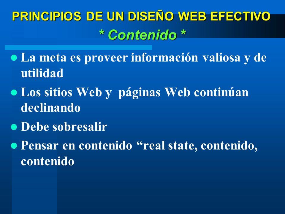 La meta es proveer información valiosa y de utilidad Los sitios Web y páginas Web continúan declinando Debe sobresalir Pensar en contenido real state,