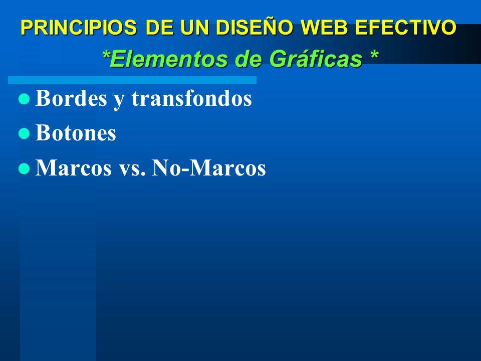 Bordes y transfondos Botones Marcos vs. No-Marcos *Elementos de Gráficas * PRINCIPIOS DE UN DISEÑO WEB EFECTIVO