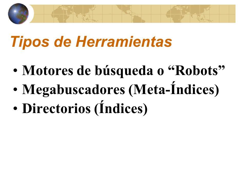 Robots de Búsqueda Programa de computadora que atraviesa la base de datos disponibles en los documentos del Web en busca de la estructura hipertexto de estas páginas HTML con el fin de localizar alguna pieza de información, como puede ser un documento, una imagen o un programa de computadora * Descripción *