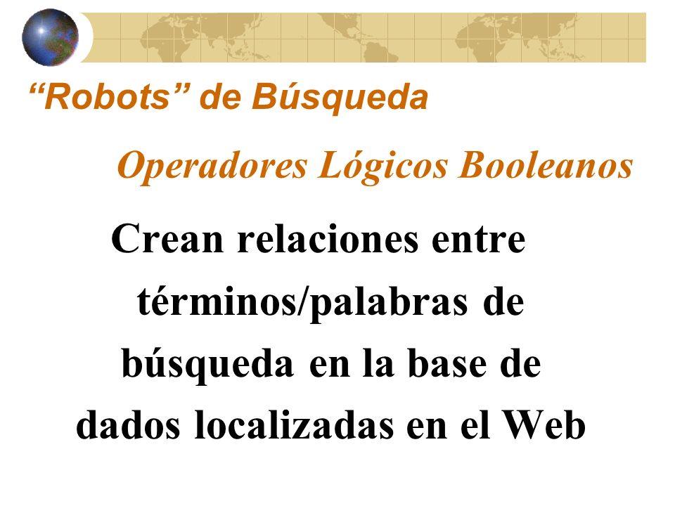 Te permiten buscar el resultado de: – La intersección de dos términos/palabras de búsqueda – La combinación de dos palabras – La exclusión de una palabra de la búsqueda Operadores Lógicos Booleanos Robots de Búsqueda