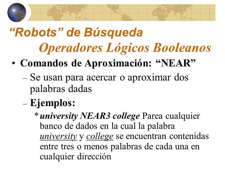 Utilizados para sustituir los conectores booleanos AND, OR y NOT Símbolos empleados: + - Sustitutos Operadores Lógicos Booleanos: Sustitutos Robots de Búsqueda