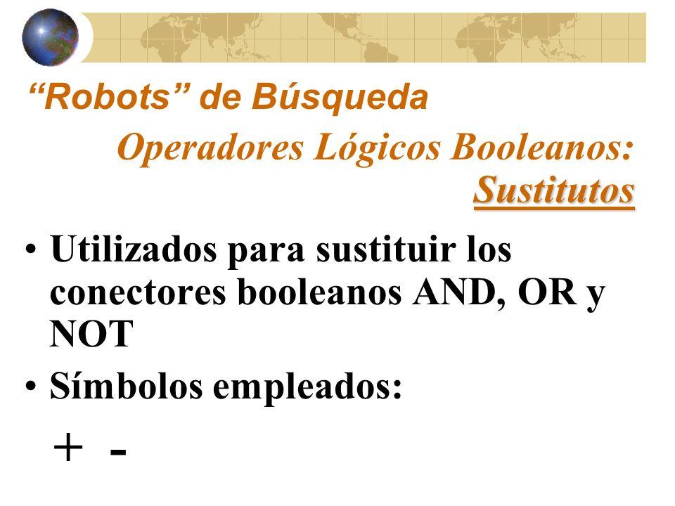 Ejemplo: + computadora + disco duro (es equivalente a: computadora AND disco duro) Sustitutos Operadores Lógicos Booleanos: Sustitutos Robots de Búsqueda