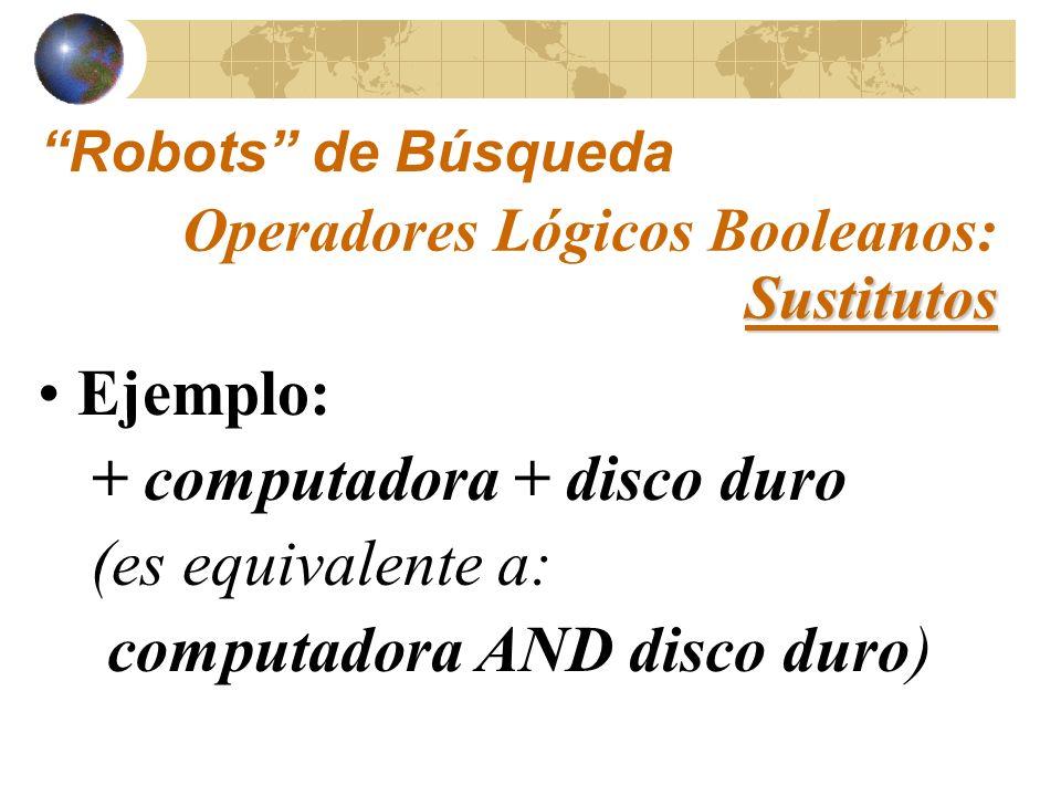 http://www.saludmed.com/ Informat/Internet/ BusqEjer.html#Busqueda-Ejer#2 Ejercicios: Sustitutos Operadores Lógicos Booleanos: Sustitutos