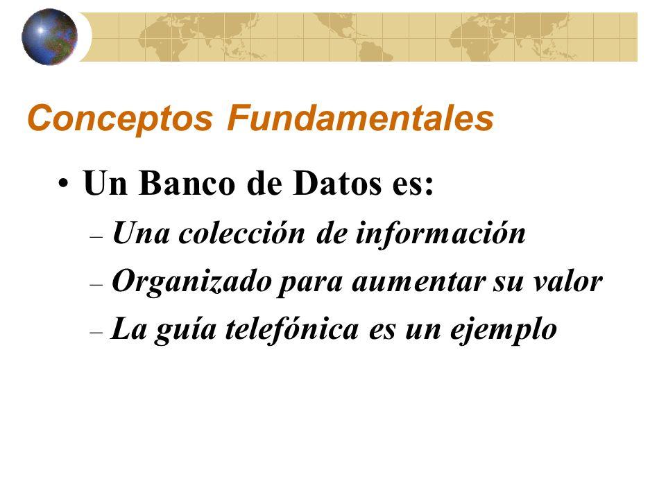 Estructura de un Banco de Datos Registros (e.g., entradas en una guía telefónica) Campos (e.g., nombre, dirección, número telefónico) Organización (alfabético, jerárquico, numérico, etc.)