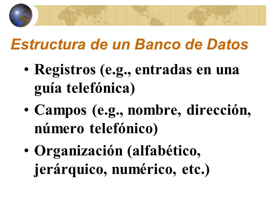 Estructura de un Banco de Datos Una página del web es un registro Los campos puede ser: – Título – URL – Encabezado – Texto – Gráficos Ejemplo