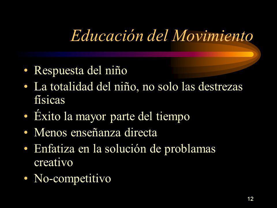 12 Educación del Movimiento Respuesta del niño La totalidad del niño, no solo las destrezas físicas Éxito la mayor parte del tiempo Menos enseñanza directa Enfatiza en la solución de problamas creativo No-competitivo