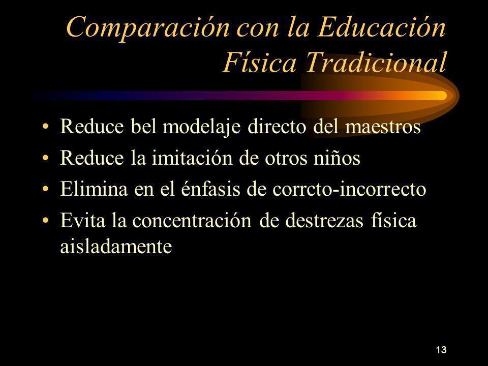 13 Comparación con la Educación Física Tradicional Reduce bel modelaje directo del maestros Reduce la imitación de otros niños Elimina en el énfasis de corrcto-incorrecto Evita la concentración de destrezas física aisladamente
