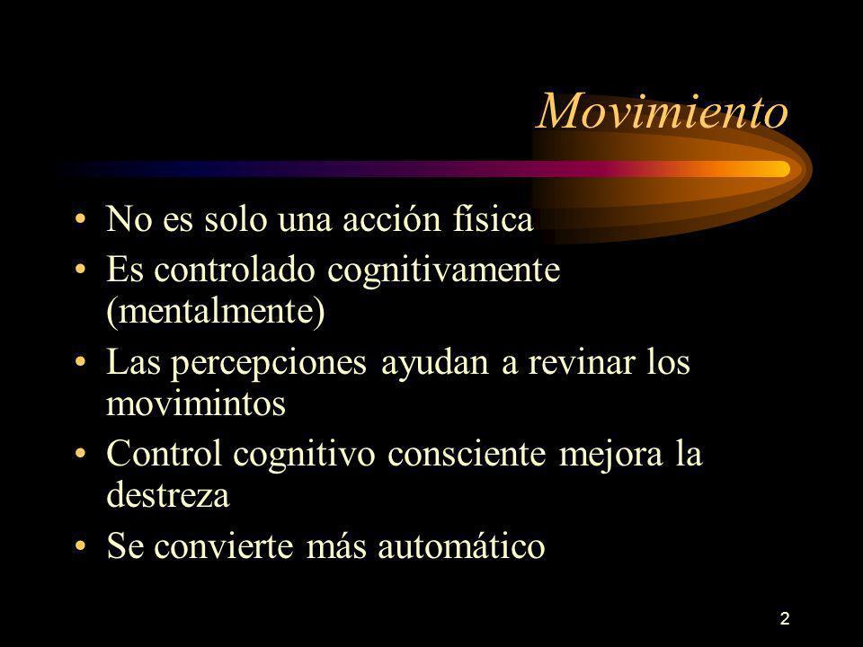 2 Movimiento No es solo una acción física Es controlado cognitivamente (mentalmente) Las percepciones ayudan a revinar los movimintos Control cognitivo consciente mejora la destreza Se convierte más automático
