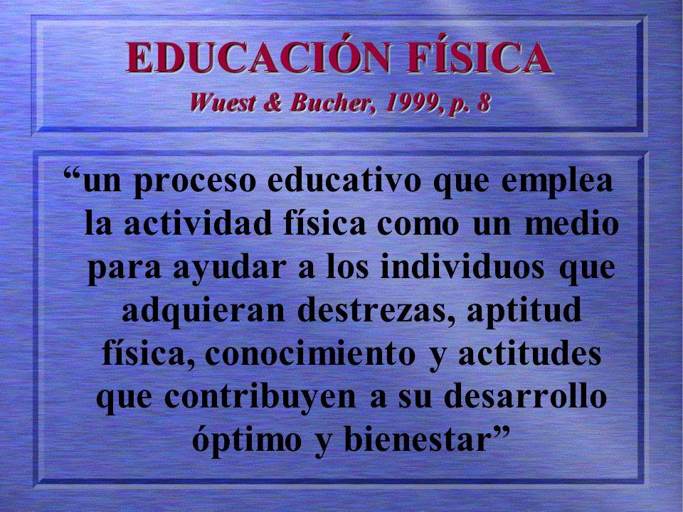 EDUCACIÓN FÍSICA Wuest & Bucher, 1999, p.