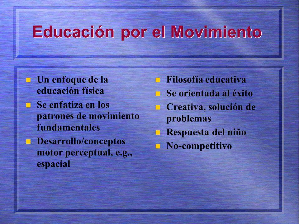 Educación por el Movimiento Un enfoque de la educación física Se enfatiza en los patrones de movimiento fundamentales Desarrollo/conceptos motor perceptual, e.g., espacial Filosofía educativa Se orientada al éxito Creativa, solución de problemas Respuesta del niño No-competitivo