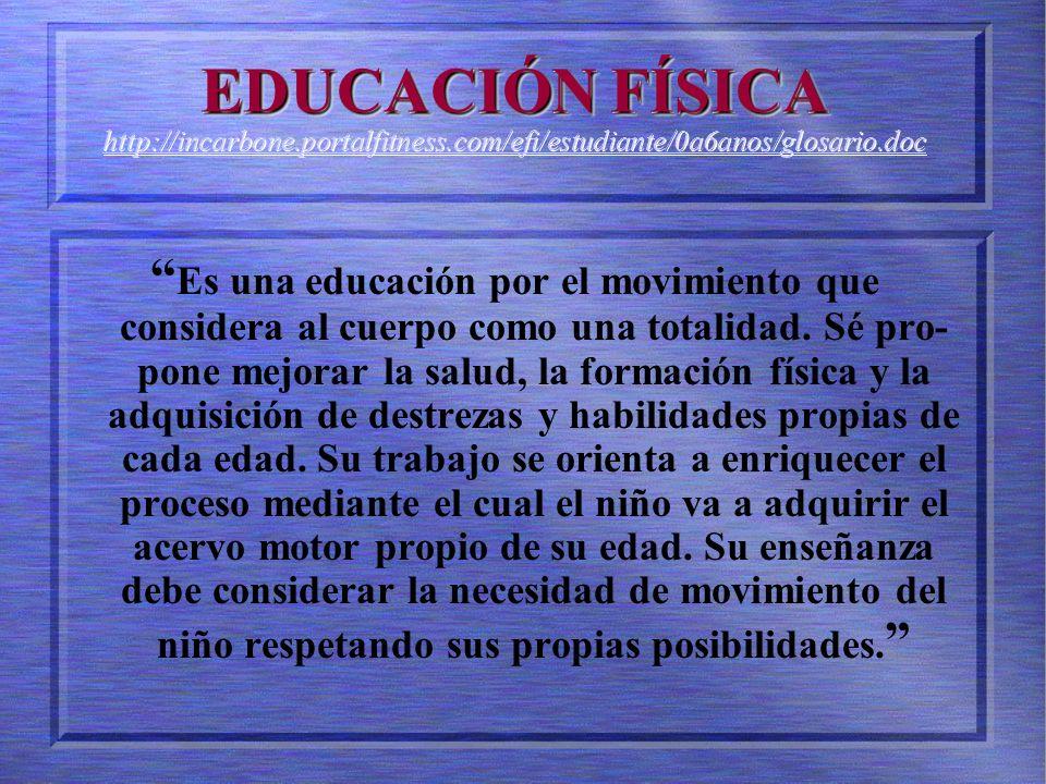 EDUCACIÓN FÍSICA EDUCACIÓN FÍSICA http://incarbone.portalfitness.com/efi/estudiante/0a6anos/glosario.doc http://incarbone.portalfitness.com/efi/estudiante/0a6anos/glosario.doc EDUCACIÓN FÍSICA EDUCACIÓN FÍSICA http://incarbone.portalfitness.com/efi/estudiante/0a6anos/glosario.doc http://incarbone.portalfitness.com/efi/estudiante/0a6anos/glosario.doc Es una educación por el movimiento que considera al cuerpo como una totalidad.