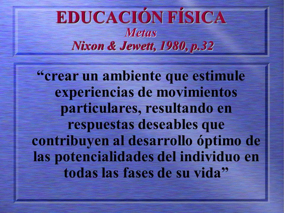 EDUCACIÓN FÍSICA Nixon & Jewett, 1980, p.32 EDUCACIÓN FÍSICA Metas Nixon & Jewett, 1980, p.32 crear un ambiente que estimule experiencias de movimientos particulares, resultando en respuestas deseables que contribuyen al desarrollo óptimo de las potencialidades del individuo en todas las fases de su vida