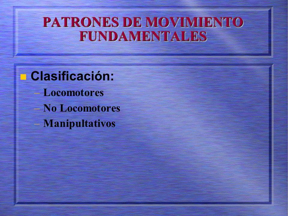PATRONES DE MOVIMIENTO FUNDAMENTALES Clasificación: – –Locomotores – –No Locomotores – –Manipultativos