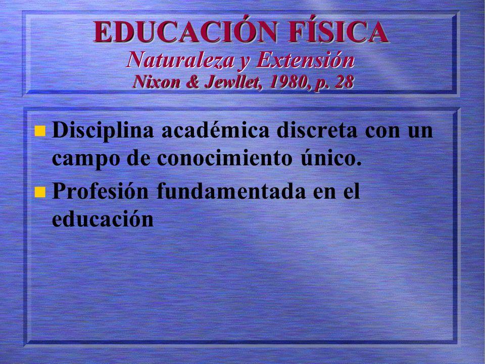 EDUCACIÓN FÍSICA Nixon & Jewllet, 1980, p.