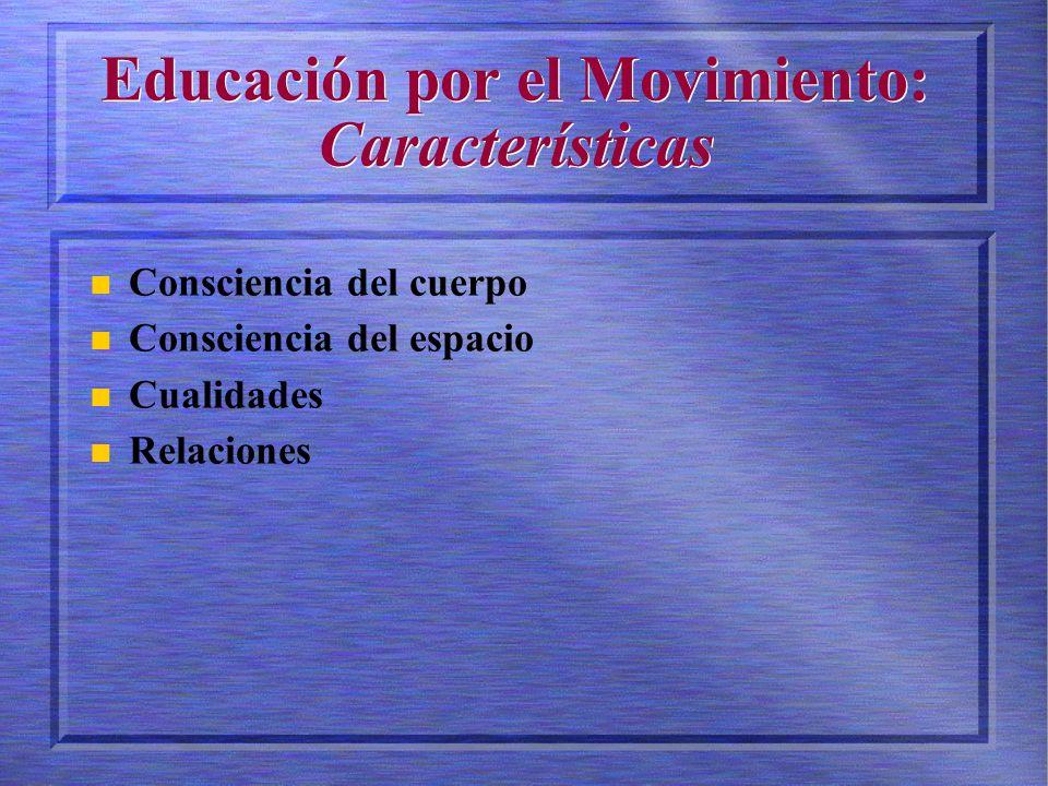 Educación por el Movimiento: Características Consciencia del cuerpo Consciencia del espacio Cualidades Relaciones