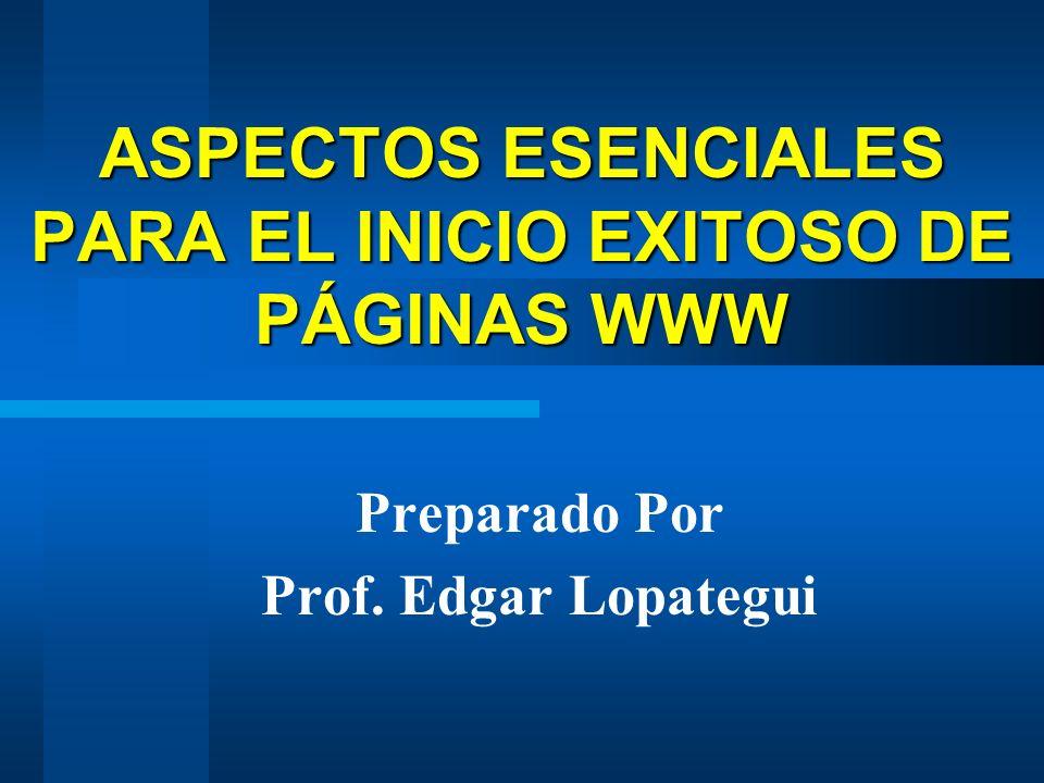 ASPECTOS ESENCIALES PARA EL INICIO EXITOSO DE PÁGINAS WWW Preparado Por Prof. Edgar Lopategui