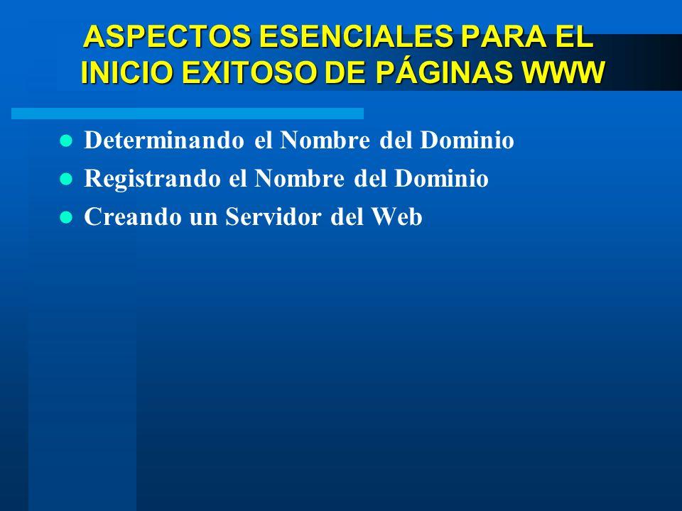 ASPECTOS ESENCIALES PARA EL INICIO EXITOSO DE PÁGINAS WWW Determinando el Nombre del Dominio Registrando el Nombre del Dominio Creando un Servidor del Web