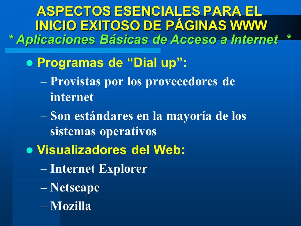Programas de Dial up: –Provistas por los proveeedores de internet –Son estándares en la mayoría de los sistemas operativos Visualizadores del Web: –Internet Explorer –Netscape –Mozilla * Aplicaciones Básicas de Acceso a Internet * ASPECTOS ESENCIALES PARA EL INICIO EXITOSO DE PÁGINAS WWW