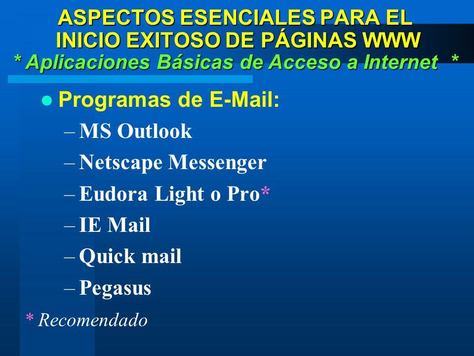 Programas de E-Mail: –MS Outlook –Netscape Messenger –Eudora Light o Pro* –IE Mail –Quick mail –Pegasus * Aplicaciones Básicas de Acceso a Internet * ASPECTOS ESENCIALES PARA EL INICIO EXITOSO DE PÁGINAS WWW * Recomendado