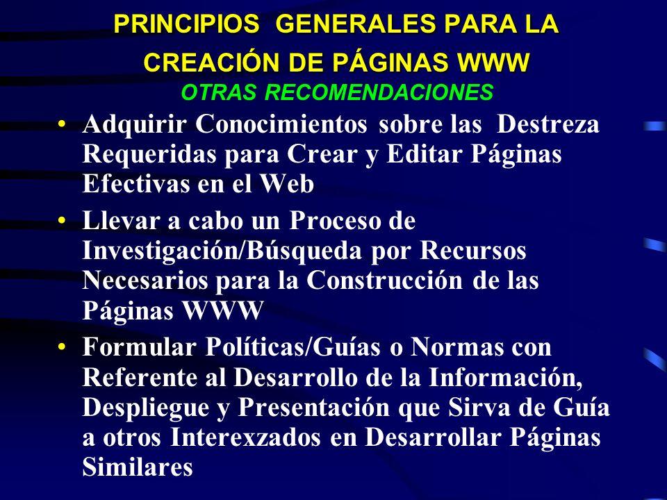 PRINCIPIOS GENERALES PARA LA CREACIÓN DE PÁGINAS WWW PRINCIPIOS GENERALES PARA LA CREACIÓN DE PÁGINAS WWW OTRAS RECOMENDACIONES Adquirir Conocimientos