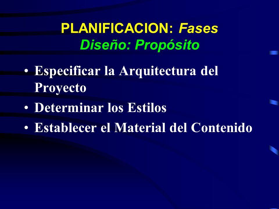 PLANIFICACION: Fases Diseño: Propósito Especificar la Arquitectura del Proyecto Determinar los Estilos Establecer el Material del Contenido
