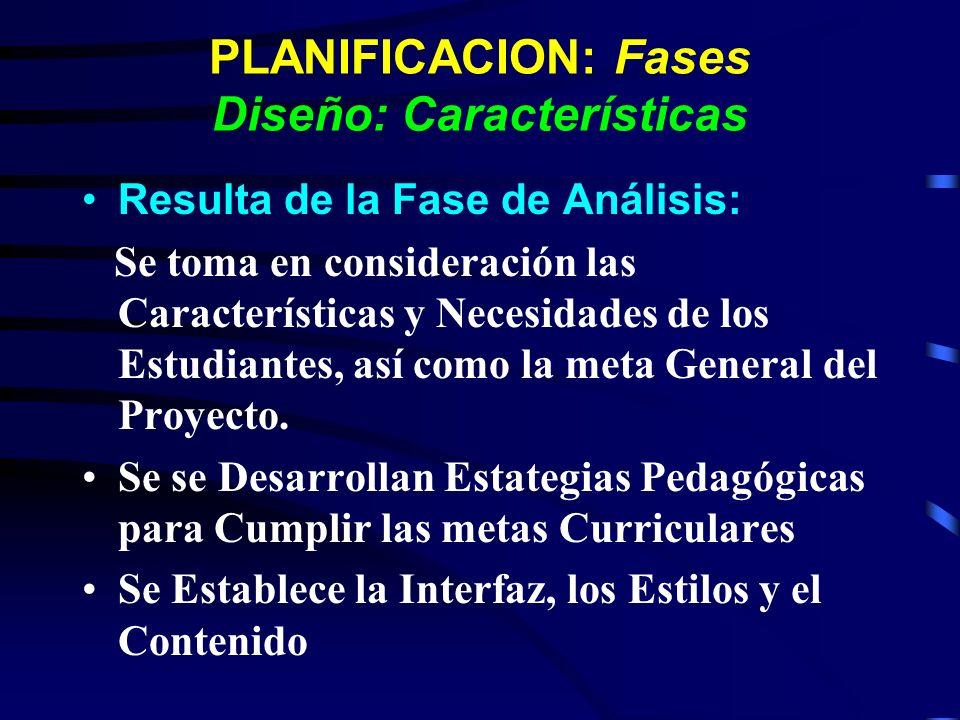 PLANIFICACION: Fases Diseño: Características Resulta de la Fase de Análisis: Se toma en consideración las Características y Necesidades de los Estudia