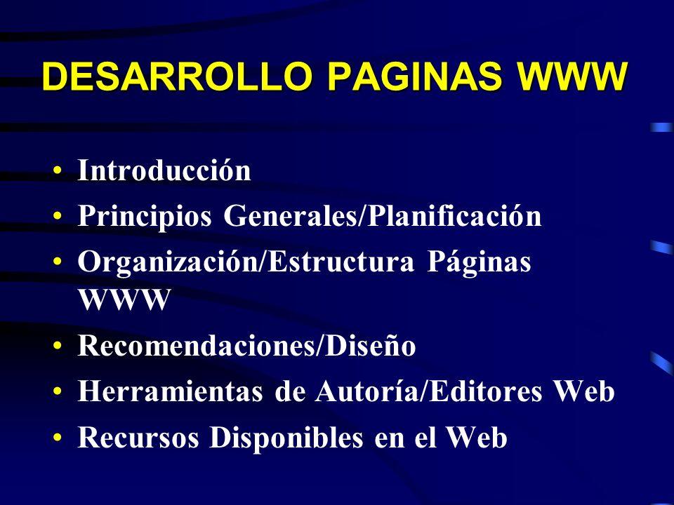 DESARROLLO PAGINAS WWW Introducción Principios Generales/Planificación Organización/Estructura Páginas WWW Recomendaciones/Diseño Herramientas de Auto