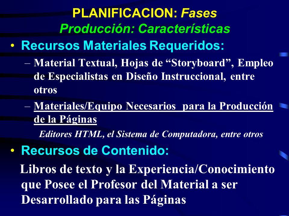 PLANIFICACION: Fases Producción: Características Recursos Materiales Requeridos: –Material Textual, Hojas de Storyboard, Empleo de Especialistas en Di
