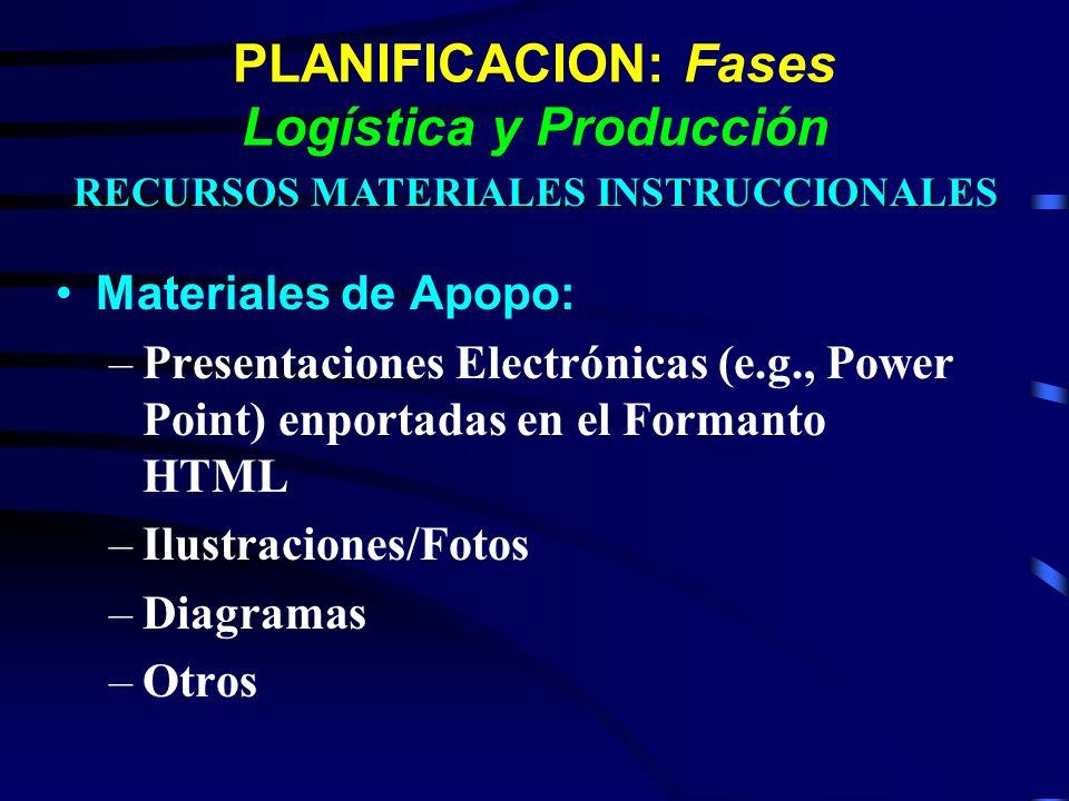 PLANIFICACION: Fases Logística y Producción Materiales de Apopo: –Presentaciones Electrónicas (e.g., Power Point) enportadas en el Formanto HTML –Ilus