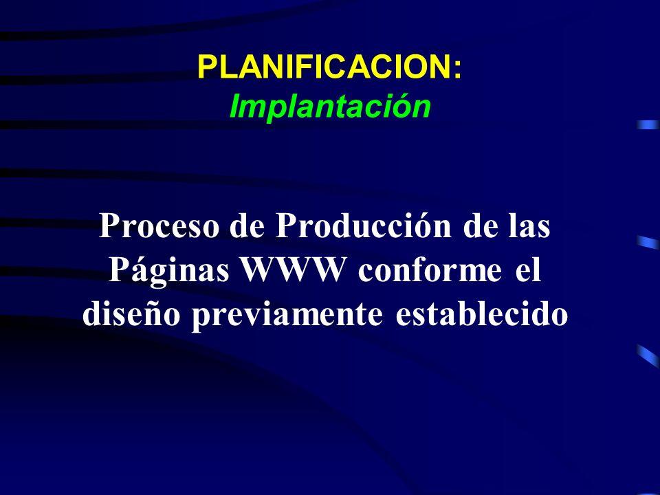 PLANIFICACION: Implantación Proceso de Producción de las Páginas WWW conforme el diseño previamente establecido